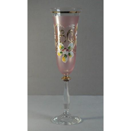 Výročný pohár Angela flauta 80 rokov ružová www.sklenenevyrobky.cz