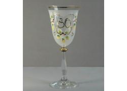 Výročný pohár na víno Angela 80 rokov www.sklenenevyrobky.cz