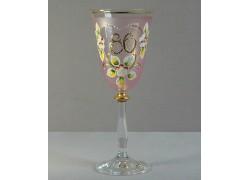 Výroční sklenička Angela 80 (250ml růžová)