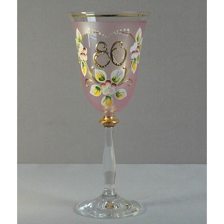 Výroční sklenička Angela 80 let www.sklenenevyrobky.cz