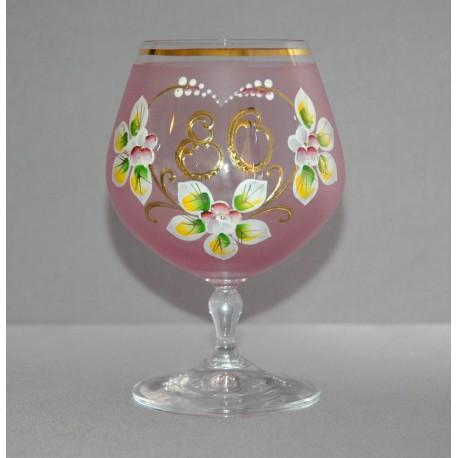 Výroční sklenička Carmen 80 let (400ml růžová) www.sklenenevyrobky.cz