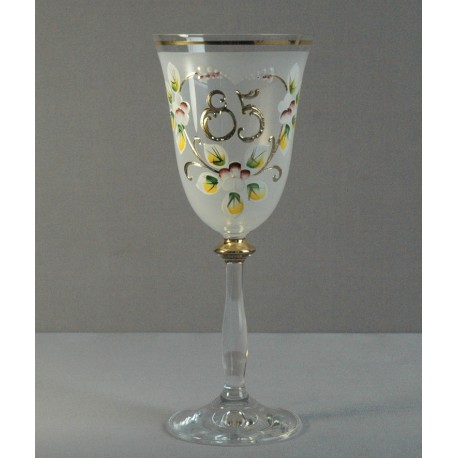 Výroční sklenička Angela 85 let (250ml bílá) www.sklenenevyrobky.cz