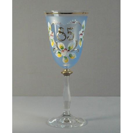 Výroční sklenička Angela 85 (250ml modrá) www.sklenenevyrobky.cz