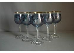 Poháre na víno, 6 ks, s dekorom Labute v modrej