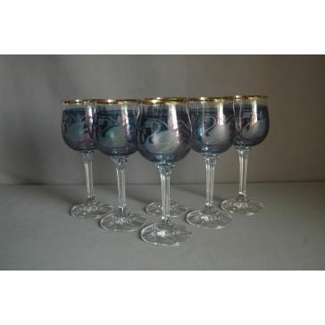 Poháre na víno, 6 ks, s dekorom Labute v modrej www.sklenenevyrobky.cz