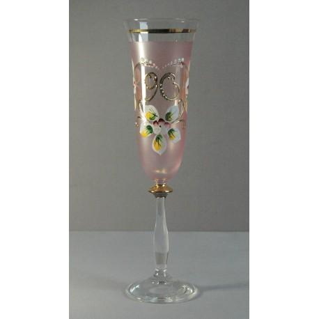 Výroční sklenička Angela - flétna 90 (190ml růžová)