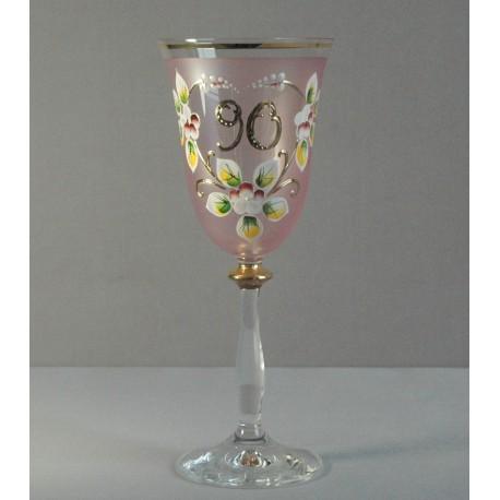 Výroční sklenička Angela 90 let (250ml růžová) www.sklenenevyrobky.cz