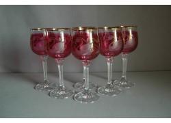 Wine glass, 6 pcs, decor swan, in red www.sklenenevyrobky.cz