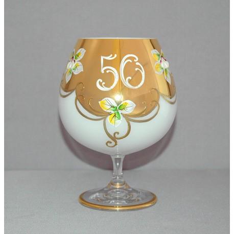 Výročný pohár Natálie 50 na koňak 400 ml opál www.sklenenevyrobky.cz