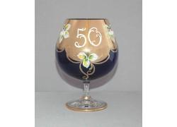 Výroční sklenice Natálie na koňak 50 let Kobaltová modř