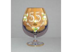 Výročný pohár Natálie 55 na koňak 400 ml modrá www.sklenenevyrobky.cz