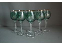 Wine glass, 6 pcs, decor swan, in green www.sklenenevyrobky.cz