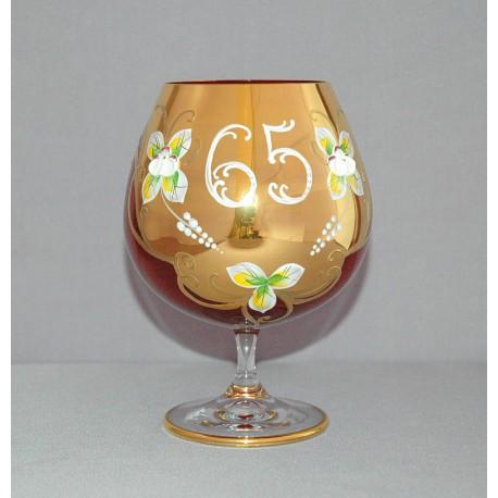 Výročný pohár Natálie 65 na koňak 400 ml červená www.sklenenevyrobky.cz