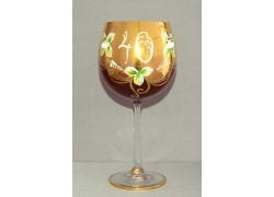 Výroční sklenička Natálie 40 (570 ml rubínová) zlatý dekor, smalt
