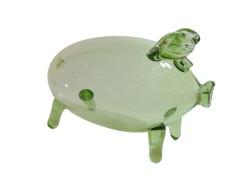 Piggy bank 23cm green glass
