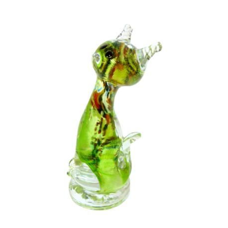 Cat - colourful glass, green www.sklenenevyrobky.cz