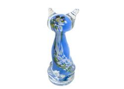 Kočka - barevné sklo, modrá www.sklenenevyrobky.cz