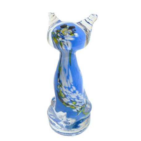 Cat - colourful glass, blue www.sklenenevyrobky.cz