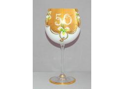 Jubilee glass Natalie 50 years white www.sklenenevyrobky.cz