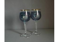 Poháre na víno, 2 ks, dekor Labuť, v modrej
