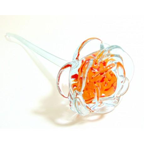 Glass rose, clear orange www.sklenenevyrobky.cz