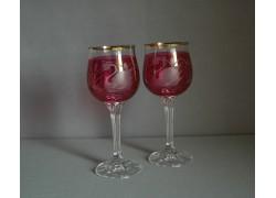 Poháre na víno, 2 ks, dekor Labuť, v červenej