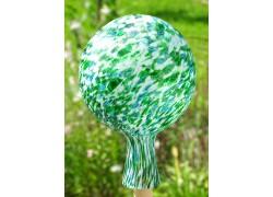 Fence glass ball 15cm green-white www.sklenenevyrobky.cz