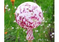 Fence glass ball 15cm violet-white www.sklenenevyrobky.cz