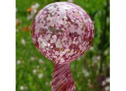 Fence glass ball 12cm violet-white www.sklenenevyrobky.cz