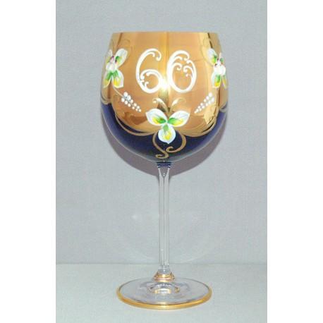 Výroční sklenička Natálie 60 let Kobaltová modř 570 ml www.sklenenevyrobky.cz