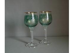 Sklenice na víno, 2 ks, dekor Labuť, v zelené