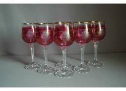 Sklenice na víno, 6 ks, s dekorem hroznového vína, v červené
