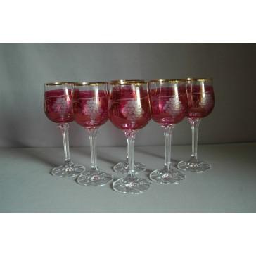 Diana 190ml listr set 6ks dekor víno červená