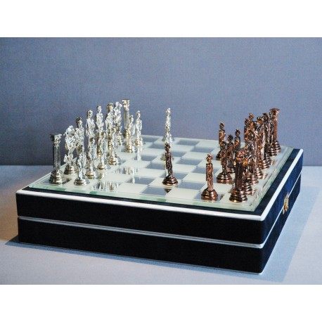 Šachy Antik cínové 24x24cm www.sklenenevyrobky.cz