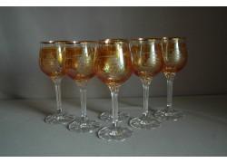 Sklenice na víno, 6 ks, s dekorem hroznového vína, v žluté