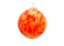 Glass ball 8cm orange-red www.sklenenevyrobky.cz