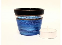 Glass candlestick, blue www.sklenenevyrobky.cz