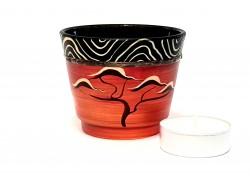 Glass candlestick, brick red www.sklenenevyrobky.cz