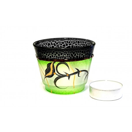 Glass candlestick, green www.sklenenevyrobky.cz