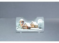 Svícen, ve tvaru vánočního válce ze skla, v bílém dekoru