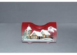 Svícen, ve tvaru vánočního válce ze skla, v červeném dekoru
