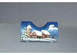 Svícen, ve tvaru vánočního válce ze skla, v modrém dekoru