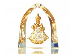 Jesus of Prague white glass plaque www.sklenenevyrobky.cz