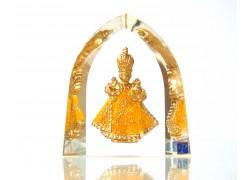 Jesus of Prague in yellow glass plaque www.sklenenevyrobky.cz