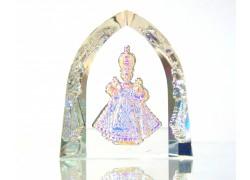 Infant Jesus of Prague plated glass plaque www.sklenenevyrobky.cz