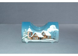 Candlestick, in the shape of a Christmas cylinder from glass, light blue