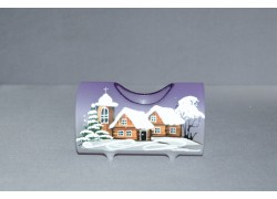 Candlestick, in the shape of a Christmas roller made of glass, purple