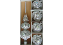 Christmas tree topper and 4 Christmas balls in silver decor www.sklenenevyrobky.cz
