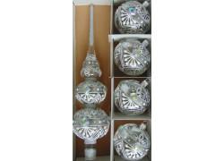 Vianočná špica a 4 vianočné gule v striebornom dekore www.sklenenevyrobky.cz