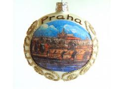 Vánoční koule 8cm motiv Pražský hrad www.sklenenevyrobky.cz